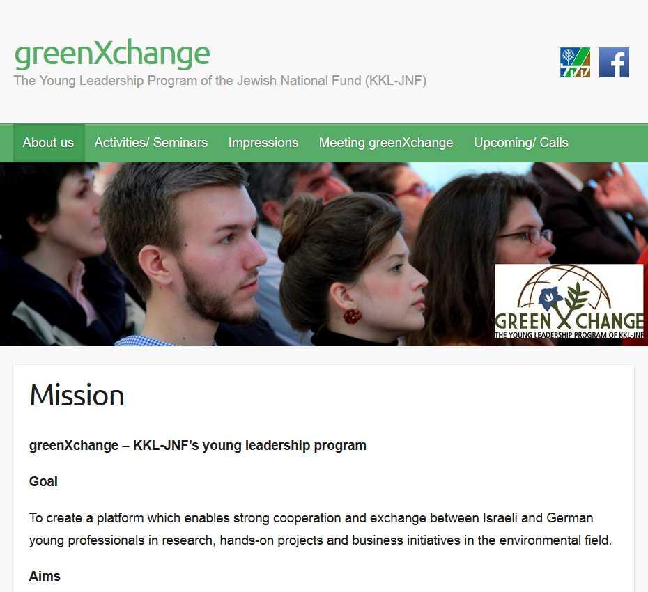 Der internet-Auftritt des JNF-KKL Austauschprogramms greenXchange